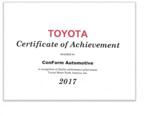 Toyota Quality Award 2017 Cert
